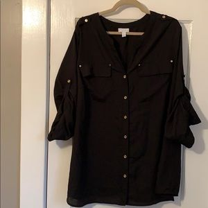 Charter Club Black 3/4 Blouse - 3X (22/24)